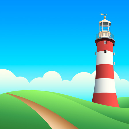 searchlight: Lighthouse at the summer meadows in sunny day
