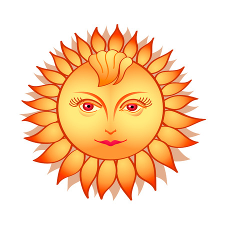 hot lips: Beautiful sun woman in russian folklore style Illustration