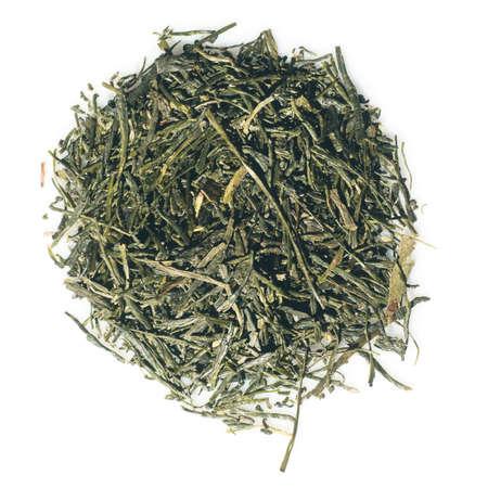 sencha tea: Japanese green premium Sencha tea isolated over white