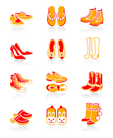 Collection of typical casual, sport and fashion footwear for all seasons. Vector