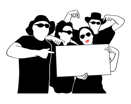Funny black and white people with sunglasses and space for ad Vector