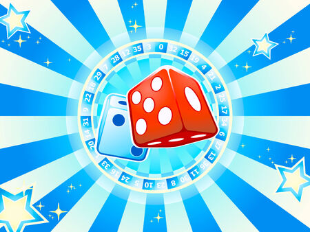 Casino dices over roulette wheel with lucky stars and rays Vector