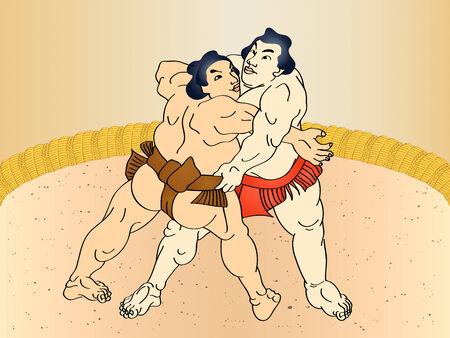 ukiyoe: Sumo wrestlers at the ring in classic ukiyo-e style
