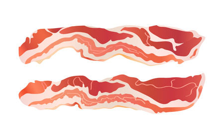browned: Cooked bacon strips for continental breakfast isolated Illustration