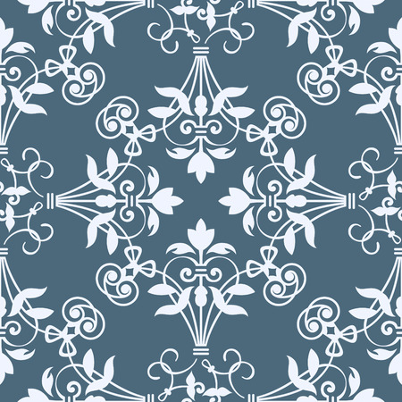 Seamless floral heraldry pattern in bluish colors Vector