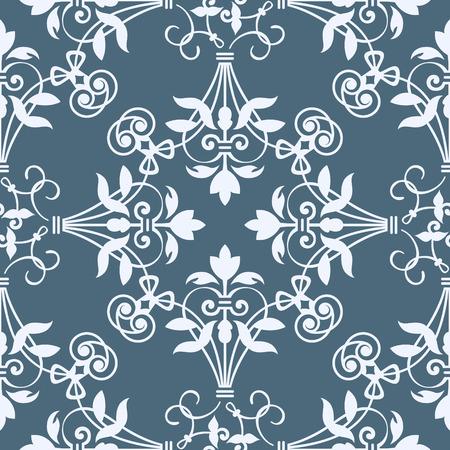 bluish: Seamless floral heraldry pattern in bluish colors Illustration