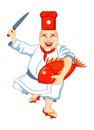 Joyful japanese sushi chef with anxious big fish and knife