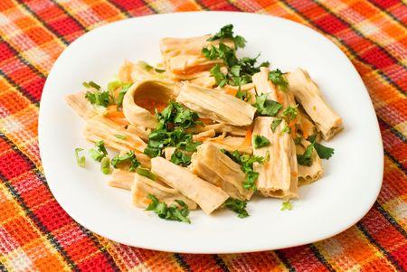 Chinese of korean Yuba (tofu bamboo) salad with cilantro photo