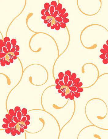 꽃이 만발한: Seamless blossoming flowers pattern in warm colors