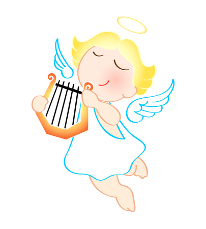Funny cartoon angel with harp isolated over white Vector