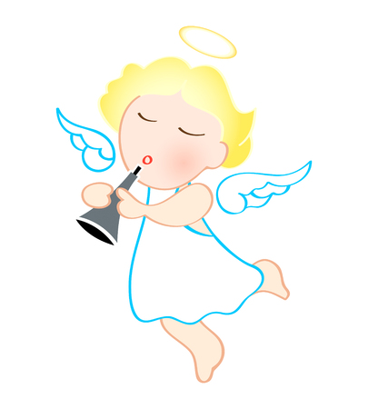 trumpet vector: Funny cartoon angel with trumpet isolated over white Illustration