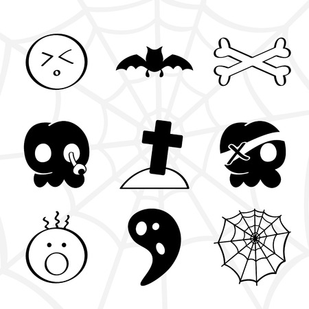 cross bone: Funny horror elements collection in black and white