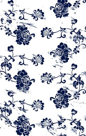 꽃이 만발한: Seamless blossoming flowers grungy retro pattern