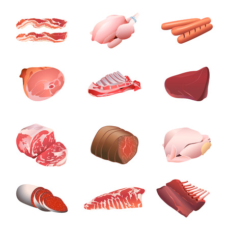 Set of colorful isolated meats and poultry for calorie table illustration