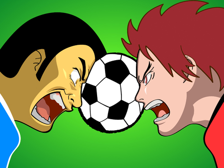 delirious: Cartoon soccer (or football) players fighting for the ball