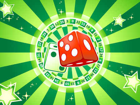 Casino dices over classic table games interior Vector
