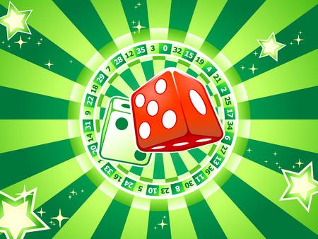Casino dices over classic table games interior Stock Vector - 5156031