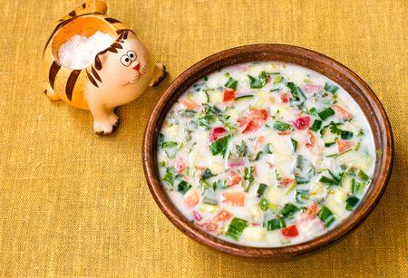 okroshka: Russian summer cold vegetable soup on kefir (sour-milk) base - okroshka