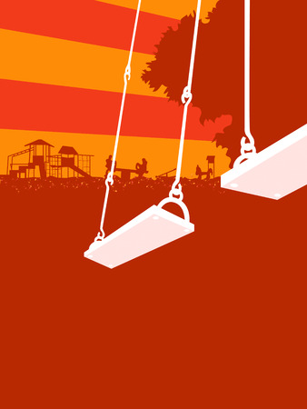 Empty swing seats over sunset park playground Vector