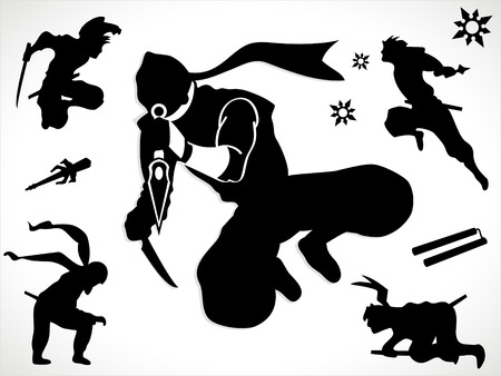 Ninja silhouettes and weapons Stock Vector - 5230081