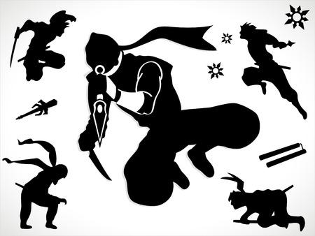 shuriken: Ninja siluetas y las armas Vectores