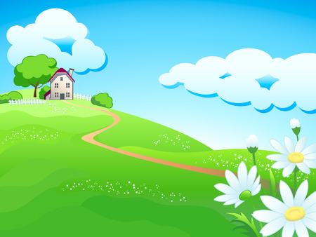 country landscape: Dream home at summer meadows with chamomiles Illustration