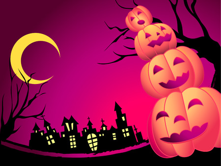 Halloween card with pumpkins and spooky castle Stock Vector - 5270575