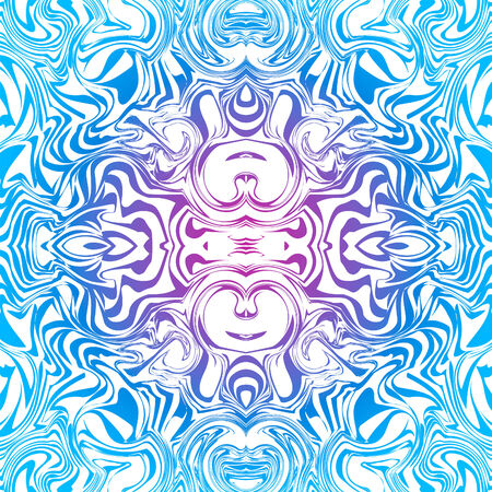 Goa: Psychedelic seamless goa trance abstract pattern in blue Illustration