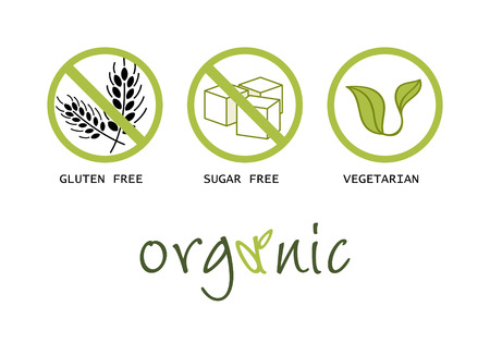 vegetarian: Healthy food symbols - gluten free, sugar free, organic and vegetarian