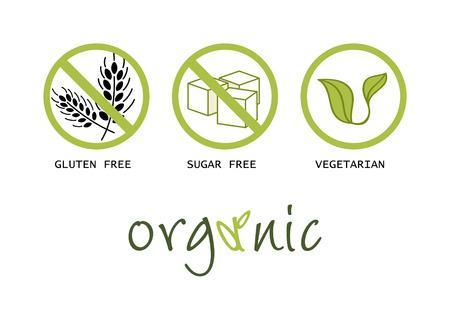 Simboli cibo sano - senza glutine, senza zucchero, biologico e vegetariano Vettoriali