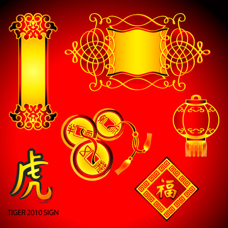 Chinese New Year decoration elements: scroll, banner, lucky coins, lantern, frame and Tiger sign Vector