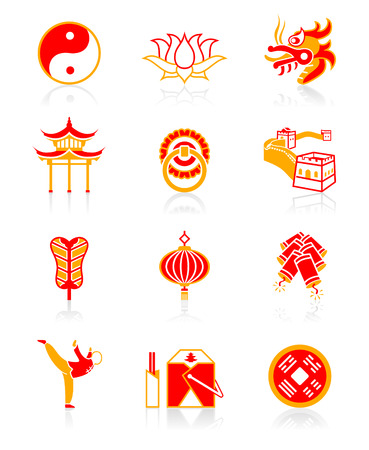 Traditional Chinese culture symbols and objects icon set.