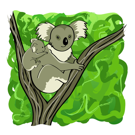 Koala mother and baby bear sitting on the tree Vector