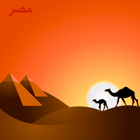 Egypt travel landscape at sunset with country name Vector