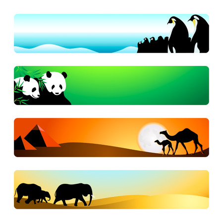 sand asia: Travel animal destinations banner or header 4-color backgrounds set. Illustration