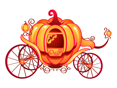 cinderella pumpkin: Pumpkin carriage for Cinderella or Halloween isolated over white Illustration
