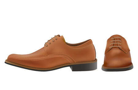 photoreal: Pair of photo-real browm man oxford shoes in editable vector Illustration