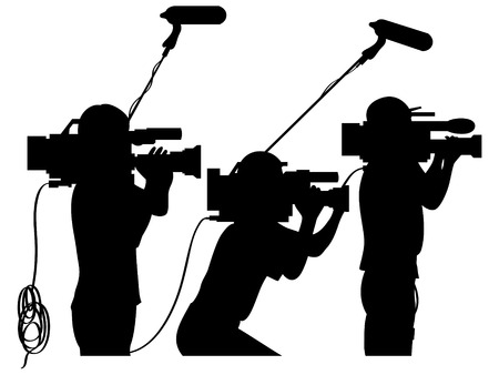 newscast: Cameraman at work silhouettes side view