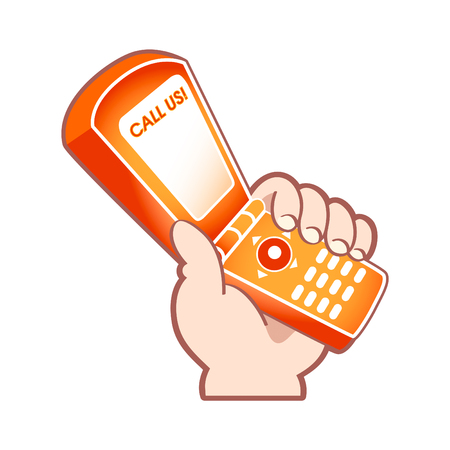 Cartoon hand with mobile phone as support service symbol Stock Vector - 5601136