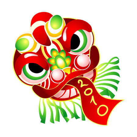 lion dance: Chinese New Year Lion dance head carnival mask Illustration
