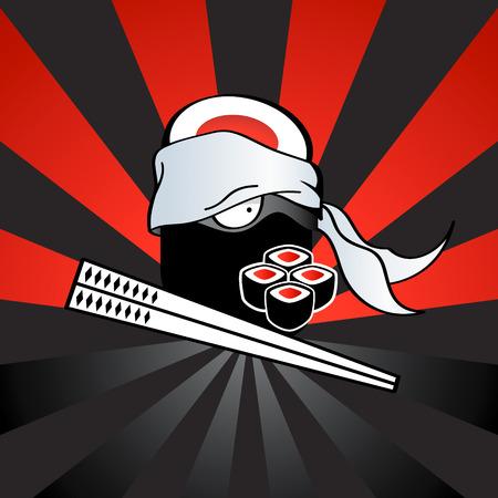 sushi roll: Ninja Sushi con katana pericolose bacchette e piccante rotoli