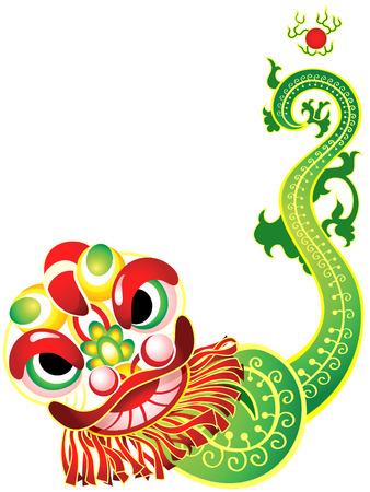 traditional dance: Chinese New Year carta con maschera testa di leone e coda decorate