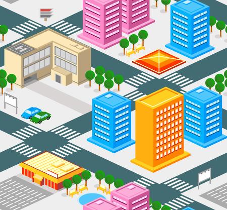 passage pi�ton: Isom�trique pattern ville transparente avec les routes, les biens et les b�timents publics