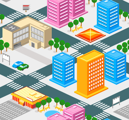 paso de cebra: Patrón de la ciudad isométrica sin fisuras con las carreteras, bienes y edificios públicos,
