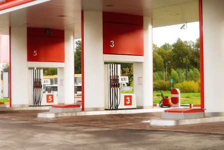 petrol station: Empty petrol station at rural area Stock Photo