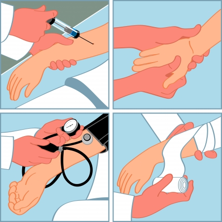 Hand medical procedures - injection, massage, blood pressure measuring, bandaging