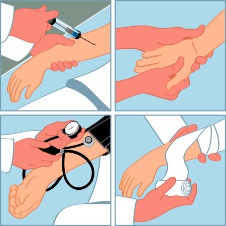 injectie: Hand medische procedures - injectie, massage, bloeddruk meten, bandages