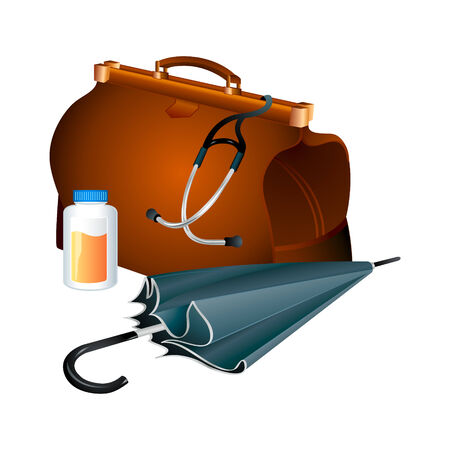 tool bag: Family doctor survival kit: bag with stethoscope, jar of pills and umbrella Illustration