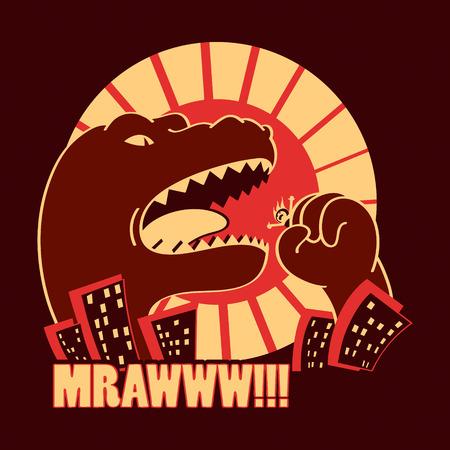 Dangerous Godzilla-like monster in the frightened japanese city