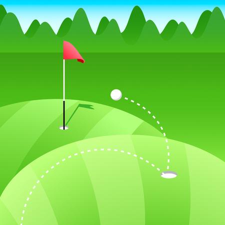 Golf course at the abstract green meadows Vector